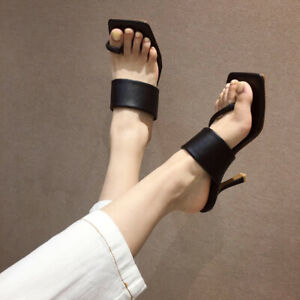 Women Sexy Mules High Heels Summer Square Toe Sandals Slippers Stiletto Shoes