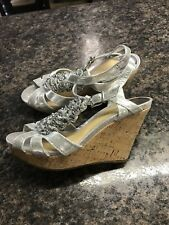 Women's Sz. 9 Gianni Bini Silver Ruffle Wedge Sandals Worn Once!