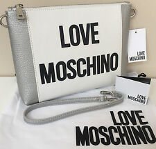 LOVE MOSCHINO OFF WHITE & METALLIC SILVER FAUX LEATHER HAND SHOULDER CLUTCH BAG