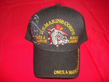 US MARINE CORPS Embroidered Insignia Black Ball Hat