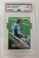 575: Barry Sanders 1989 Topps Traded #83T Rookie RC PSA 10 Gem Mint! Lions HOF