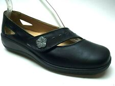 Hotter Bliss Black Leather Mary Jane Wedge Heels Loafers  7.5 UK 5 1/2 EU 38.5