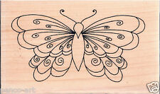 Inca 3D Scroll butterfly rubber stamp on wooden wood block 8349e wingspan 7.4cm