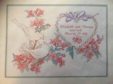 elsa williams love birds wedding sampler counted cross stitch kit