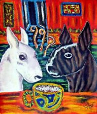 Aceo Bull Terrier drinking Coffee Folk Art Card Print Dog Collectible Ksams