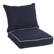 Sunbrella Sawyer Chair Cushion and Pillow Set Outdoor Navy Blue and White