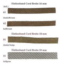 Schrägband, Webband, Einfassband Cord, Breite: 16mm/ 18mm/ 20mm, Länge: 4 Meter