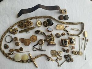 Vtg Victorian Edwardian Jewelry Mourning Lot For Reuse Repair Some Good Pieces