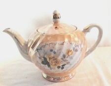 """Tea pot Painted Textured Lid made in Japan Yellow Roses 6"""" Tall top Lid 8"""" wide"""