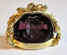 Vintage Gold Splashed Purple Amethyst Glass Intaglio Fob Pendant