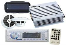 New Pyle PLMR18 Marine Boat MP3 USB AUX WMA AM FM Radio Pair Speakers + Amp Pkg