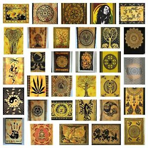 Yellow Mandala Wall Hanging Cotton Boho Meditation Yoga Mat Tapestry Poster