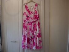 Jacques Vert Jardin Soft Printed Dress -pink & Cream Size 14
