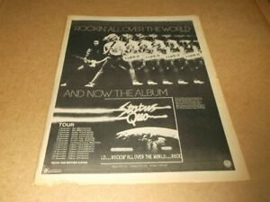 """Status Quo:  Rockin All Over the World   1977  Full Page (12"""" X 16"""") UK Advert"""