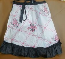 Vintage black and pink plastic half apron with inset pocket