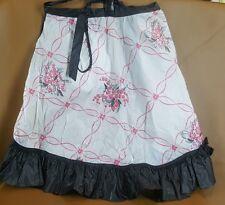 Vintage black and pink plastic half apron with inset pocket