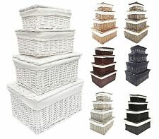 Black White Grey Lidded Wicker Storage Toy box Empty Xmas Hamper Basket Lining