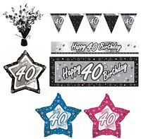 BLACK & SILVER - Age 40 - Happy 40th Birthday PARTY ITEMS Decorations Tableware