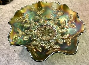 Vintage Carnival Glass Dish Green Iridescent Glass Bowl