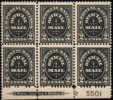 1910 US Stamp #O125 O11 2c Mint Plate Block of 6 & Star Catalogue Value $700