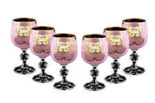 Bohemian Crystal Colored Glasses, 6-pc Antique PINK Enamel Wine Stem Goblets