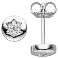 Ohrstecker Ohrringe Sternchen Sterne mit weißen Zirkonia rund 925 Silber, Damen