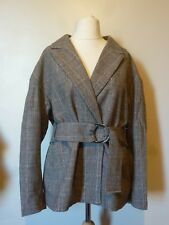 H&M Womens Fitted Woven Wool Blend Belted Jacket Size 20/22 Uk BNWT £43.98 Check