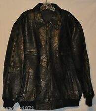 G1171-Vintage Homier Men's Black LEATHER Cafe Racer Motorcycle JACKET~SZ XL~