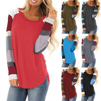 Women Long Sleeve Striped Tee Casual Loose Tops T-Shirt Blouse Tunic Sweatshirt