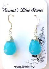 Blue Chalcedony Dangle Sterling Silver Earrings