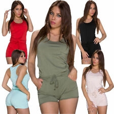 Cotton Blend Plus Size Sleeveless Jumpsuits & Playsuits for Women