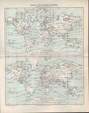 Landkarte map 1906: Karte der Wärme-Extreme. Jahres-Maxima Temperatur