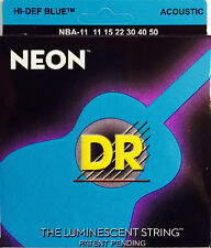 DR Handmade NBA-11 Neon Blue Acoustic Guitar Strings 11-50 gauges 11-50