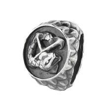 Schlange m Kreuz 150110271001 Rebeligion Silber f Lederarmband Black Rock Large
