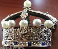 PLATINUM  DIAMOND & PEARL CROWN BROOCH Very Unique Antique Rare
