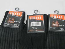 Mens Silky Dress Socks 100% Nylon Mid Calf 3PK Black Size 10-13 Sheer ribbed