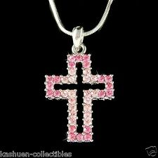 w Swarovski Crystal Pink Rose ~Cut Out Cross Jesus Christ God Religious Necklace