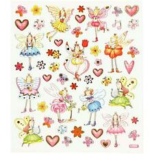 Girls Flower Fairy Hearts Elves Glitter Stickers 15cm Self-Adhesive Sheet Kids