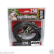 PDQ 40' Heavy Duty Cable Tie Out w/ Swivel Leash Hook Dogs up to 250lbs