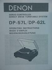 Denon DP-57L/DP-62L Plattenspieler Bedienungsanleitung Handbuch 31 Seiten