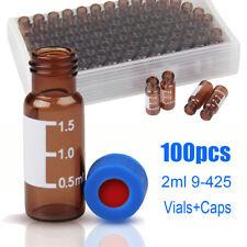 100pcs 2ml Autosampler Vialspre Slit Caps Screw Top 9 425 Amber Glass Bottles