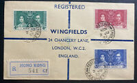 1937 Hong Kong First Day Cover to London England King George 6 KGVI Coronation