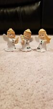 Set of 3 Porcelain Christmas Angel Child Figurines with Holly on Gowns - Taiwan