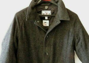 Vintage Men's Wool Woolrich Hunting Jacket w Game Pockets Gray Herringbone XL