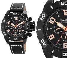 Herren Armbanduhr Chronograph Schwarz/Weiss-Rose Leder von ENGELHARDT 289 UVP