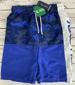 Nautica Big Boy's Swimsuit Two Toned Blue & White Size XL (14-16) 2653