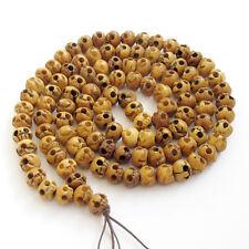 12mm*9mm--Skull Tibet Bone Buddhist Prayer Worry Beads Mala Necklace--108Beads