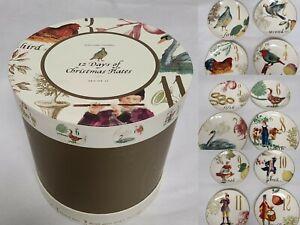 "WILLIAMS SONOMA 12 Days of Christmas 12 Salad/Dessert Plates 8.75"" 2012 full set"