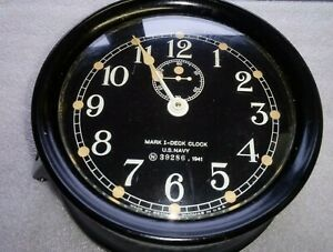1941 SETH THOMAS U.S. NAVY MARK I DECK CLOCK - N3986 - WWII