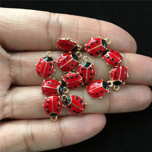 10pcs 11*9mm Gold Tone Red Enameled Ladybug Charms Tone Pendant Bead Making